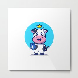 Cute Cow Holding Milk Box Straw Cartoon Icon Illustration Animal Food Icon Concept Isolated Flat Car Metal Print