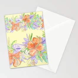 hawaiian tropical flowers yellow Stationery Cards