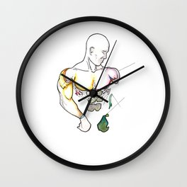 The Boxer, Male muscle anatomy, NYC artist Wall Clock