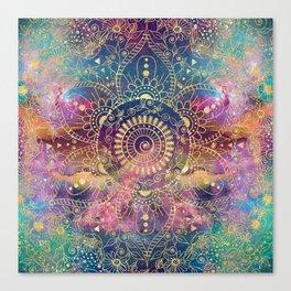 Gold watercolor and nebula mandala Canvas Print