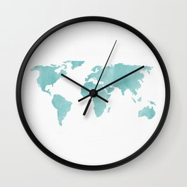 World Map - Teal Turquoise Watercolor on White Wall Clock
