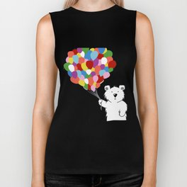 Teddy Bear with Balloons Biker Tank