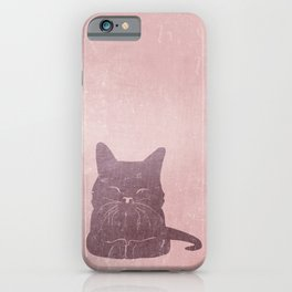 Happy purple cat illustration on pink for girls iPhone Case