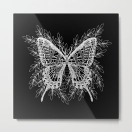 Black and White Butterfly Design Metal Print