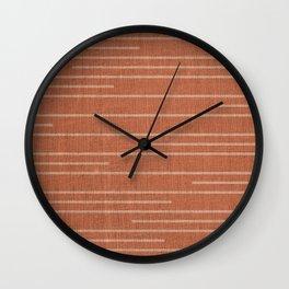 Geometric Art, Colorful Stripes, Terracotta Wall Clock