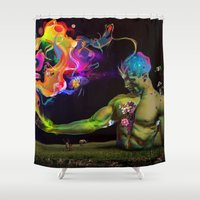 alchemy Shower Curtains featuring Alchemy Resonance by Archan Nair