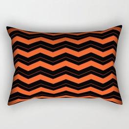 Orange and Black Chevron Rectangular Pillow