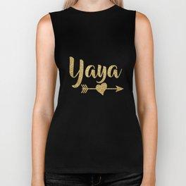 Cute Faux Gold Glitter Arrow Heart Yaya Tshirt Grandma Shirt Biker Tank