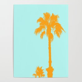 Orange palm trees silhouettes on blue Poster