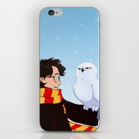 hedwig iPhone & iPod Skins featuring Harry and Hedwig by AnimonInk