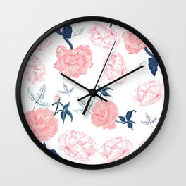 Vintage Roses with Indigo palette Wall Clock
