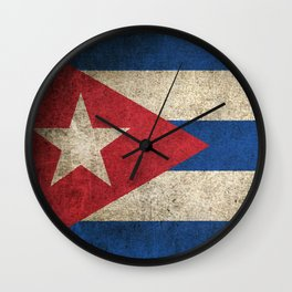 Old and Worn Distressed Vintage Flag of Cuba Wall Clock