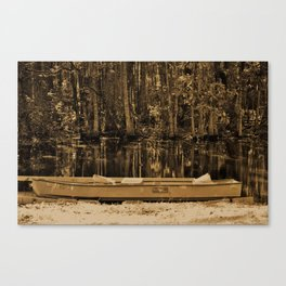 Boat And Swamp Waters Canvas Print