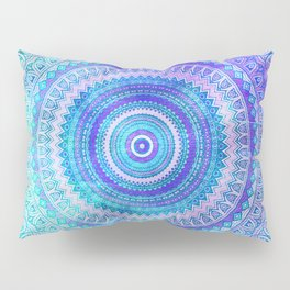 Blue Turquoise And Purple Watercolor Mandala Art Pillow Sham