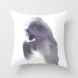 Dusk, Fashion Illustration in Watercolor Throw Pillow