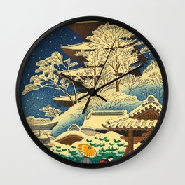 Japanese Woodblock Print Vintage Asian Art Colorful woodblock prints Shrine At Night Snow White Wall Clock