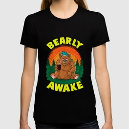 Bearly Awake Sleeping Bear Funny Barely Awake Pun T-shirt