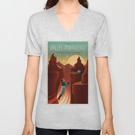 Discover Valles Marineris Land of Martian Chasms and Craters Mars Travel Poster Unisex V-Neck