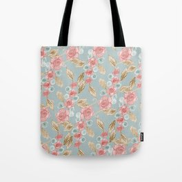 Floral Patterns x Dusty Blue Tote Bag