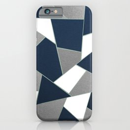Navy Blue Gray White Mint Geometric Glam #1 #geo #decor #art #society6 iPhone Case