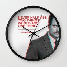 Ron Swanson - Never Half Ass Wall Clock