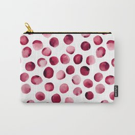 Watercolor Dots // Cardinal Red Carry-All Pouch