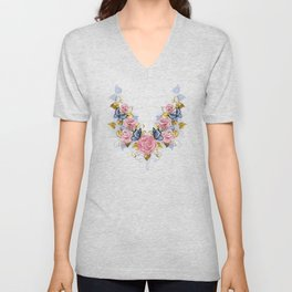Pattern of Pink Roses Unisex V-Neck