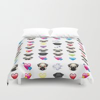 emoji Duvet Covers featuring Emoji Pug  by Huebucket