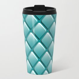 Turquoise Geometric Rhomboid Pattern Travel Mug