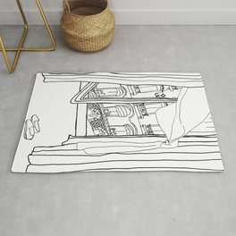 Window View in France  //  ink drawing Rug