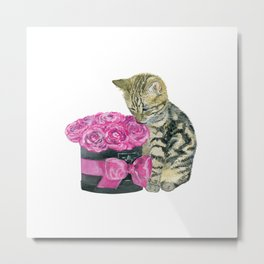 Kitty and rose bouquet Metal Print