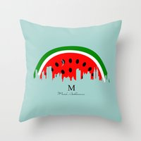 watermelon Throw Pillows featuring watermelon by mark ashkenazi