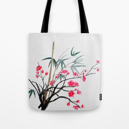 bamboo and red plum flowers Tote Bag
