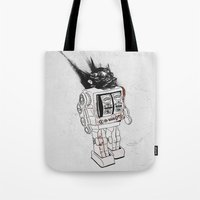 army Tote Bags featuring robot army by Tom Kitchen