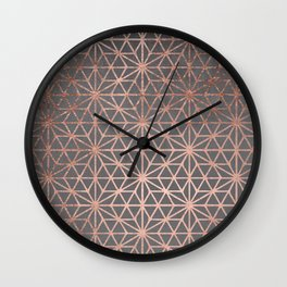 Modern rose gold stars geometric pattern Christmas grey graphite concrete industrial cement Wall Clock