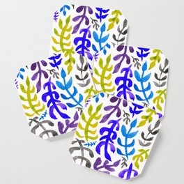Matisse Inspired Watercolor Pattern (Blue, Green, Purple, Violet, and Gray) Coaster