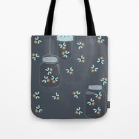 fireflies Tote Bags featuring Fireflies by Badger & Bee