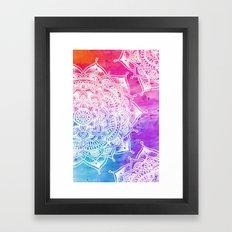 White Mandala on Watercolour Framed Art Print