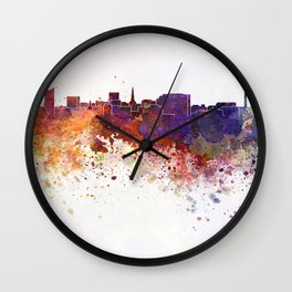 Dortmund skyline in watercolor background Wall Clock