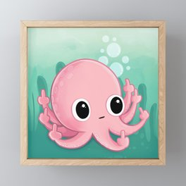 Octopus Flipping the Bird Framed Mini Art Print