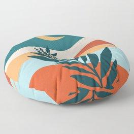Moonlit Mediterranean / Abstract Landscape Floor Pillow