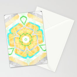Yellow Viola Hybrid Flower Abstract Art Watercolor Stationery Cards