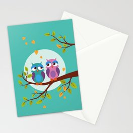 Sleepy owls in love Stationery Cards