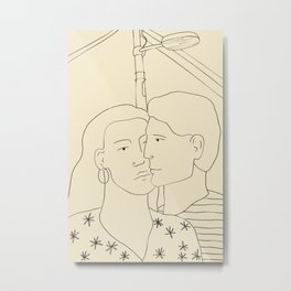 COUPLE IN LOVE UNDER A STREET LIGHT Metal Print