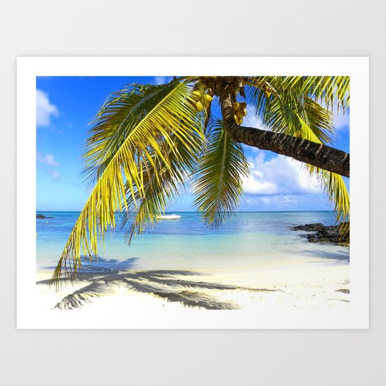 Palmtree on White Exotic Beach Art Print