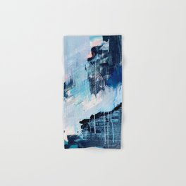 Vibes: an abstract mixed media piece in blues and pinks by Alyssa Hamilton Art Hand & Bath Towel