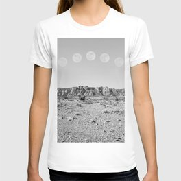 Desert Moon Ridge B&W // Summer Lunar Landscape Teal Sky Red Rock Canyon Rock Climbing Photography T-shirt