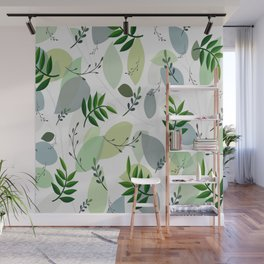 Modern Abstract Green Gray White Foliage Pattern Wall Mural