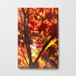 Red autumn foliage in the world of a globe Metal Print