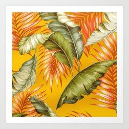 HAWAIIAN GARDEN TROPICAL LEAVES | golden yellow orange Art Print